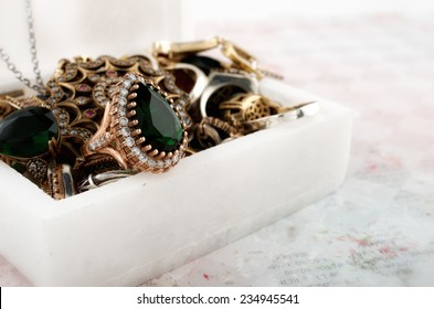 Marble box with jewelry