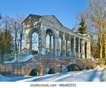 Marble Bridge in Catherine Park in Tsarskoye Selo (Pushkin), south of St.-Petersburg, Russia