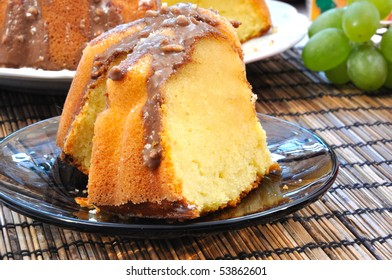 Marble cake on plate with grapes