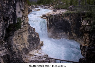 The Marble Canyon was created when the rushing waters carved through the rocks in Kootenay National Park in Canada.