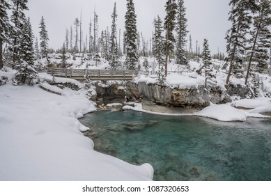 Marble Canyon in Kootenay National Park on a snowy day