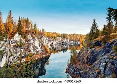 Marble canyon Ruskeala, Karelia, Russia