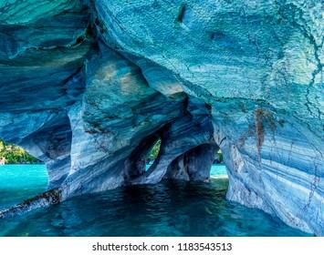 Marble Chapel, Santuario de la Naturaleza Capillas de Marmol, General Carrera Lake, Puerto Rio Tranquilo, Aysen Region, Patagonia, Chile