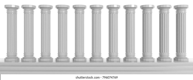 Marble classical pillars row on white, background. 3d illustration