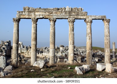 Marble columns in ancient city Apamea, Syria