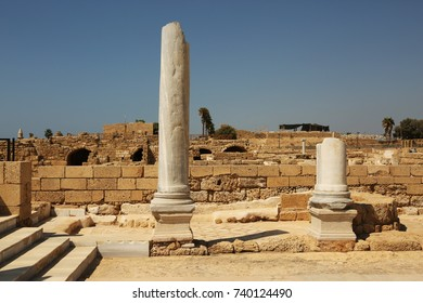 Marble columns in the ancient port of Caesarea