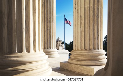 The marble columns of the Supreme Court of the United States in Washington DC