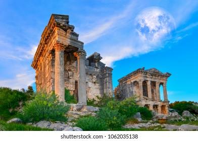 Marble columns of Temple of Tyche, goddess of fortune, Roman, late first century AD, Olba, (Uzuncaburc),Mersin,Turkey