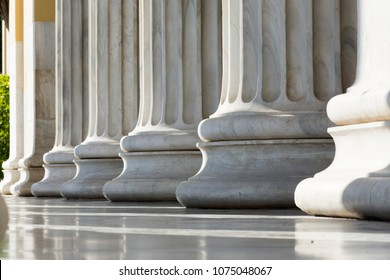 marble columns in zapio building in athens