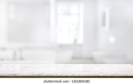 Marble counter table top in bath room background - Shutterstock ID 1361804180