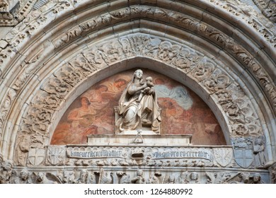 Marble exterior of Astronomical Clock of the Cathedral of Messina with small statues on the facade , Duomo Messina, Sicily. Italy. details.