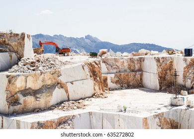 Marble extraction in the mountains of Italy