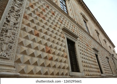 marble facade of the Palazzo dei Diamanti in Ferrara, Italy