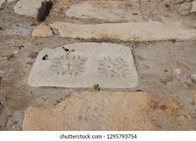 Marble flagstone in the main road of  Ephesus, Turkey