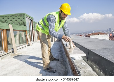Marble Floor Worker . Paver with marble plates