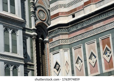 The marble of the Florence Cathedral dates back to 1887. Emilio de Fabris marble embroidery, an important example of neo-Gothic style in Italy.