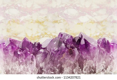 Marble, gold and amethyst background seamless horizontal repeating, natural prism gemstone isolated on white background.
