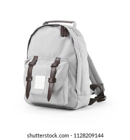 Marble Grey Canvas Backpack Isolated on White Background. Side View of Satchel Rucksack with Zippered Compartment. Travel Camping Daypack. White School Bag with Shoulder Straps and Haul Loop at Top