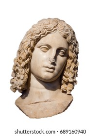 Marble head of Alexander the Great isolated