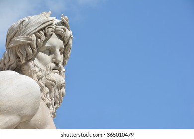 Marble head of River Ganges statue as a greek god, detail from baroque Fountain of Four River in the center of  Piazza Navona Square, Rome (17 th century)
