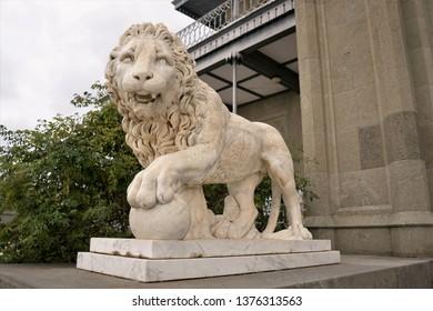 marble lion statue in Crimea.Vorontsov Palace