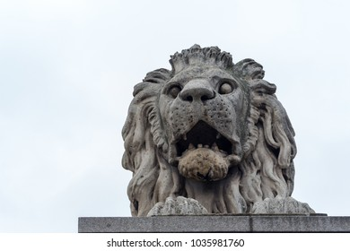 Marble lion statue isolated against grey sky. Ancient lion monument on Chain Bridge in Budapest, Hungary. Power and might symbol. Travel and tourism concept.  Lion with open mouth statue.