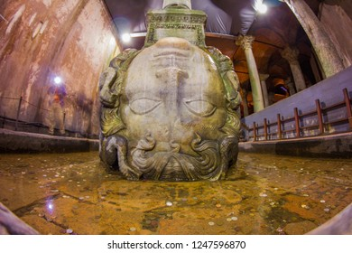 A marble Medusa head sculpture used as a column base in the Basilica Cistern (Yerebatan Sarnici). Underground water reservoir build by Emperor Justinianus in 6th century, Istanbul, Turkey.