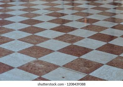marble pavement, chessboard shape, Palmanova, Friuli Venezia Giulia region of Italy
