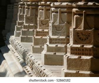 marble pillars of Jain temple in Ranakpur