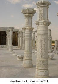 marble pillars of a newly constructed temple