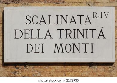 Marble Plate, Scalinata della Trinitˆ dei Monti, Piazza di Spagna, Rome - Italy.