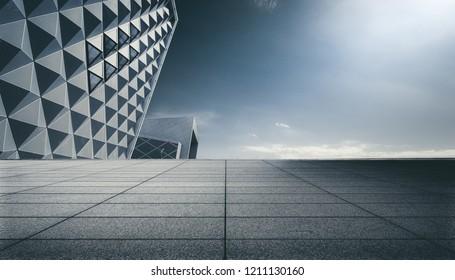 Marble plaza under the triangular pyrami