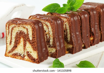 Marble pound cake with chocolate glaze