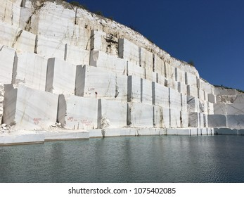 Marble quarry lake in the spring