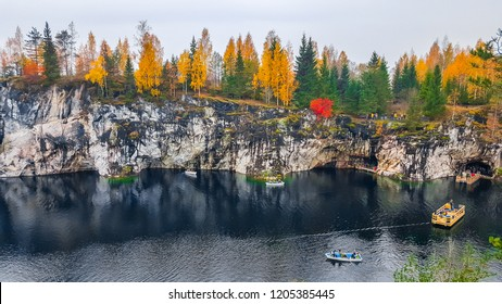 "Marble quarry in mountain park ""Ruskeala"" in autumn.  Republic of Karelia. Russia"