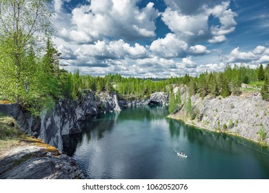 Marble quarry in Ruskeala Park in Republic of Karelia, Russia.