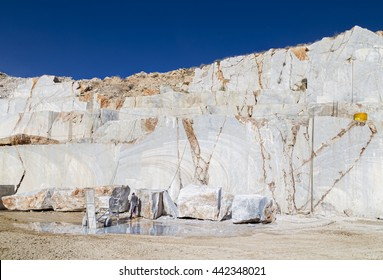 Marble quarry site in Turkey. Diamond wire saw for marble quarry. Mostly used for cutting granite and marble blocks. At the moment of big marble block cutting, it is cooled with water.