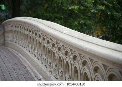 Marble railing of Bow Bridge in Central Park, New York City