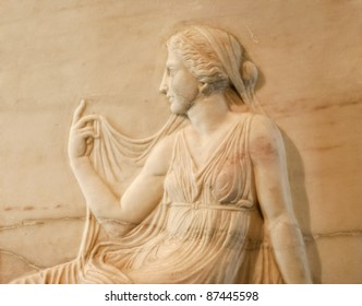 Marble relief of roman woman - Excavated at Herculaneum near Pompejii. Both cities near Naples in Italy were destroyed by the eruption of Vesuvius in 79AD.