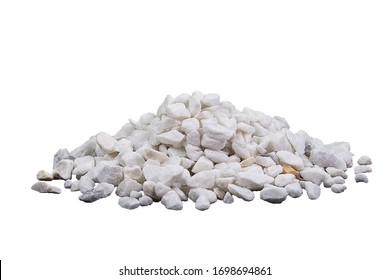 Marble rubble on a white background in the form of a pile of stones. Marble crushed stone fraction is used in landscape design, construction, and aquarium soil