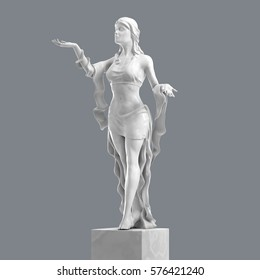 Marble Sculpture of a Beautiful Young Woman with Elegant Folds of Clothing. Statue of Goddess in a Classical Style Isolated. 3D rendering