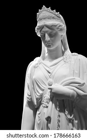 Marble sculpture of Queen Zenobia isolated on black background