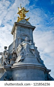 Marble sculpture statue of Queen Victoria part of the memorial in London