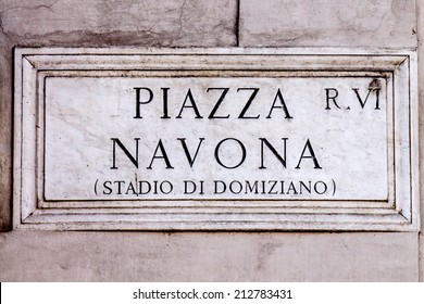 Marble sign of Piazza Navona in Roma. Italy