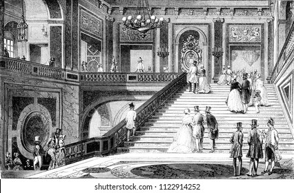 The marble staircase in the castle of Versailles, vintage engraved illustration. Magasin Pittoresque 1844.