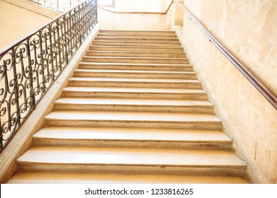 Marble staircase with stairs in luxury hall