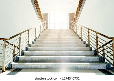 Marble stairs in a modern building.