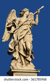 Marble statue of angel holding the Holy Lance of Longinus from the Sant'Angelo Bridge in the very center of Rome (17th century)