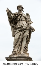 Marble statue of angel from the Sant'Angelo Bridge in Rome, Italy, designed by Bernini