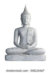 Marble statue of Buddha isolated on white background